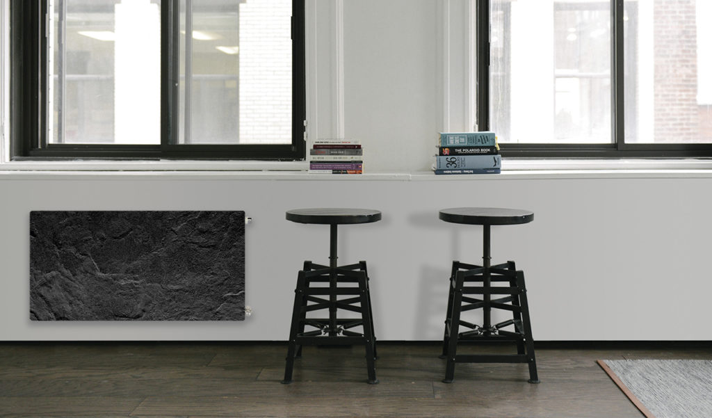 Ambiente de diseño con radiador climastar con acabado pizarra azabache
